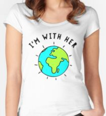 Im With Her, Earth Women's Fitted Scoop T-Shirt