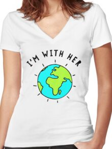 I'm With Her, Earth Women's Fitted V-Neck T-Shirt