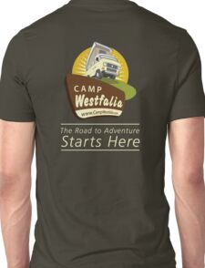 Camp Westfalia logo, large, back Unisex T-Shirt