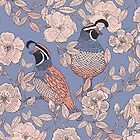 Quail and Wild Roses by JMHurd