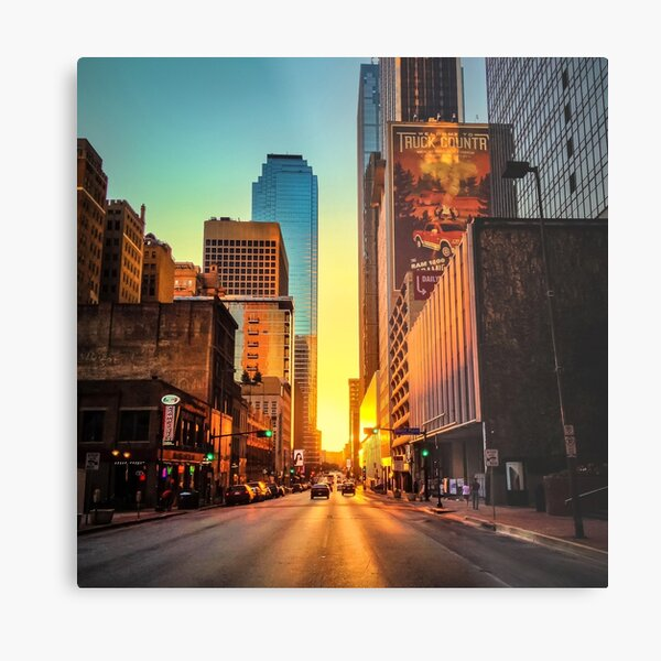 Elm Street Sunset, Dallas Metal Print