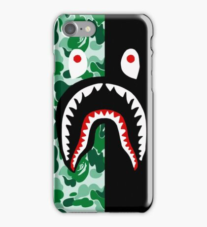 shark bape green iPhone Case/Skin