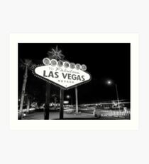 Welcome to Fabulous Las Vegas - Neon Sign in Black and White Art Print