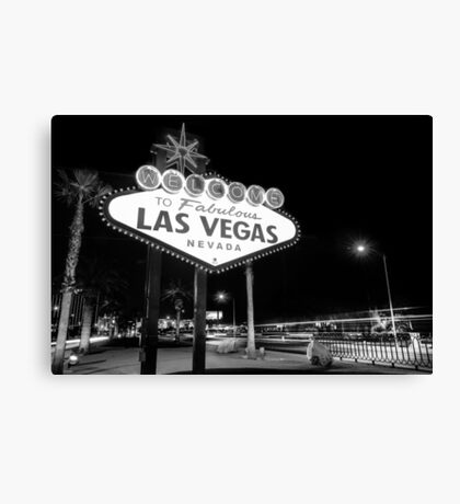 Welcome to Fabulous Las Vegas - Neon Sign in Black and White Canvas Print