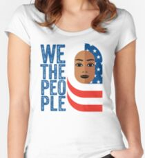 Muslim Woman wearing hijab of american flag Women's Fitted Scoop T-Shirt