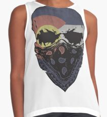 Colorado Flag Gangster Skull Graphic T-Shirt Contrast Tank