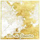 Rio de Janeiro Karte Gold von HubertRoguski
