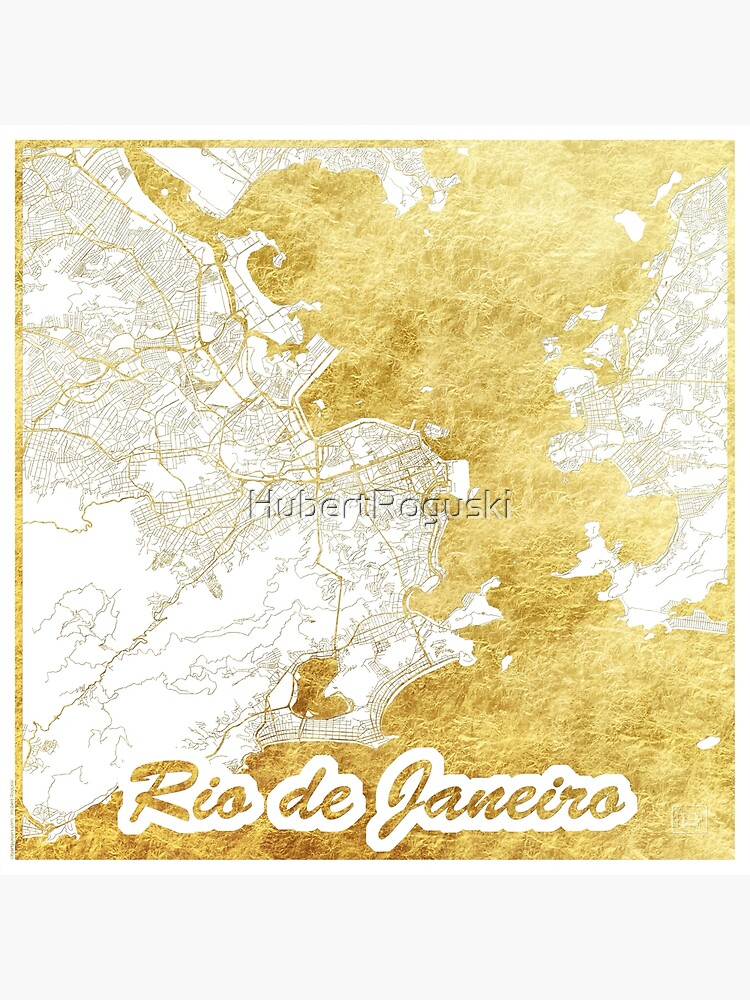 Rio de Janerio Map Gold by HubertRoguski