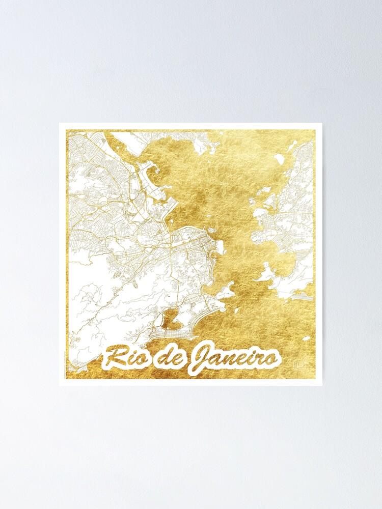 Alternate view of Rio de Janerio Map Gold Poster