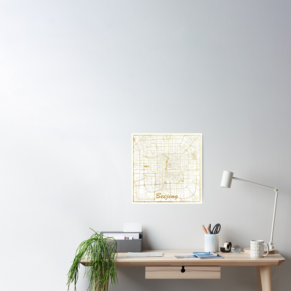 Beijing Map Gold Poster