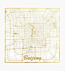 Beijing Map Gold Photographic Print