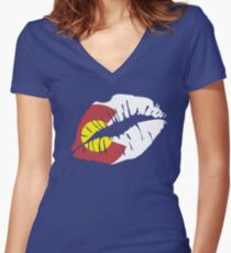 Colorado Flag Lips Graphic T-Shirt Women's Fitted V-Neck T-Shirt