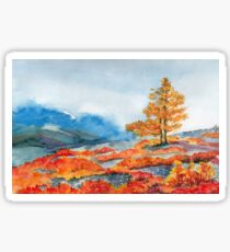 Mountains and yellow tree Sticker