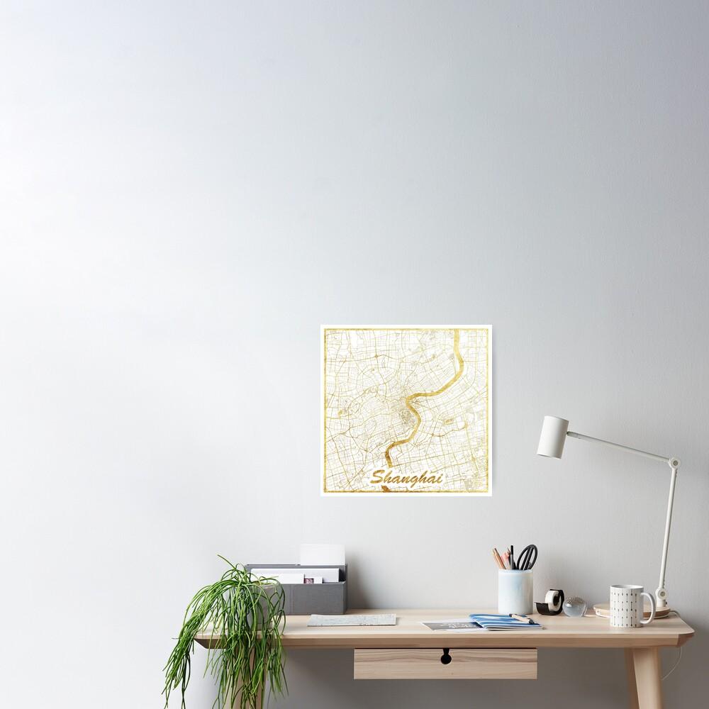 Shanghai Map Gold Poster