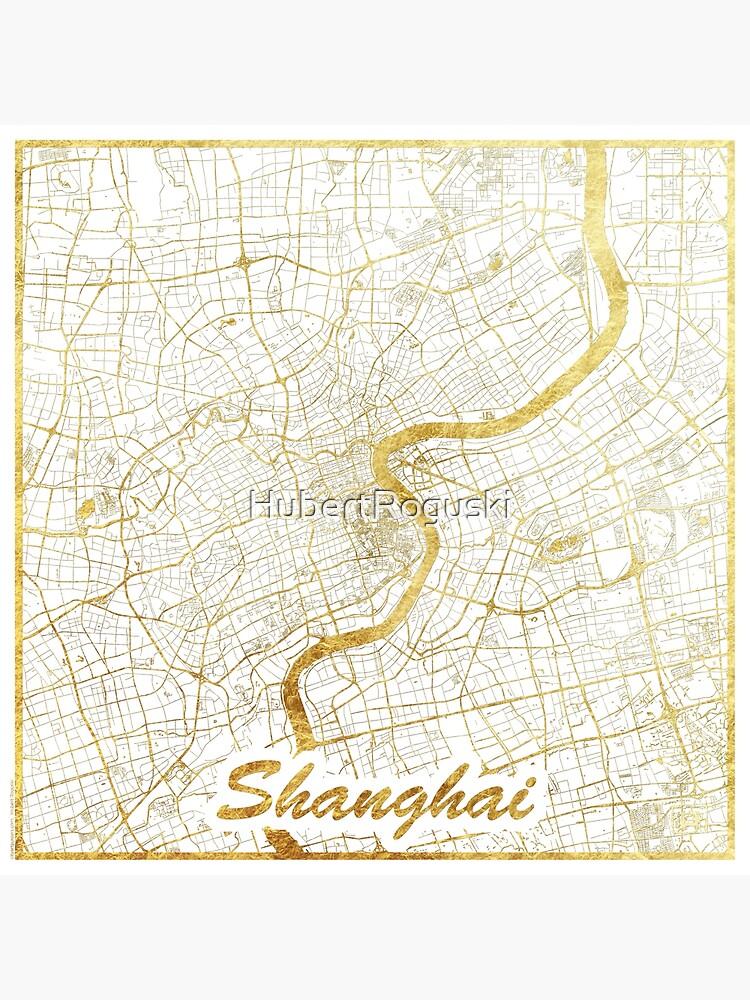Shanghai Map Gold by HubertRoguski