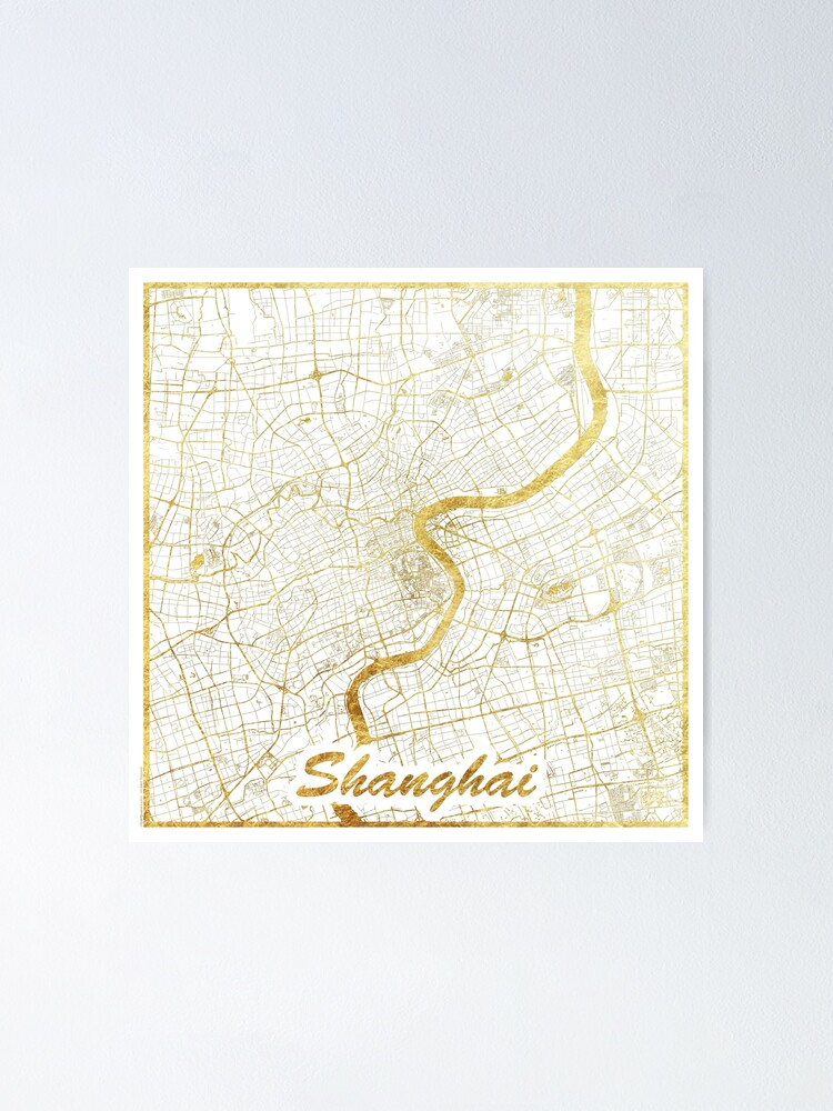 Alternate view of Shanghai Map Gold Poster