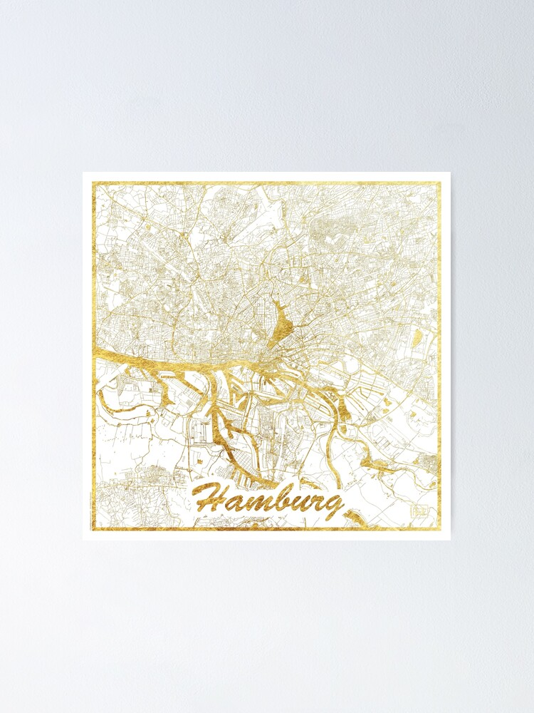 Alternate view of Hamburg Map Gold Poster