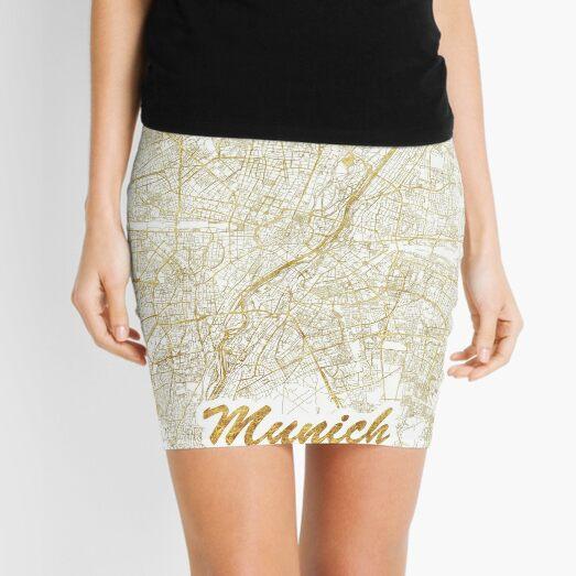 Munich Map Gold Mini Skirt