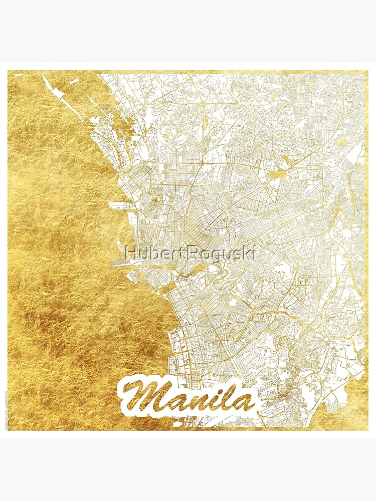 Manila Map Gold by HubertRoguski