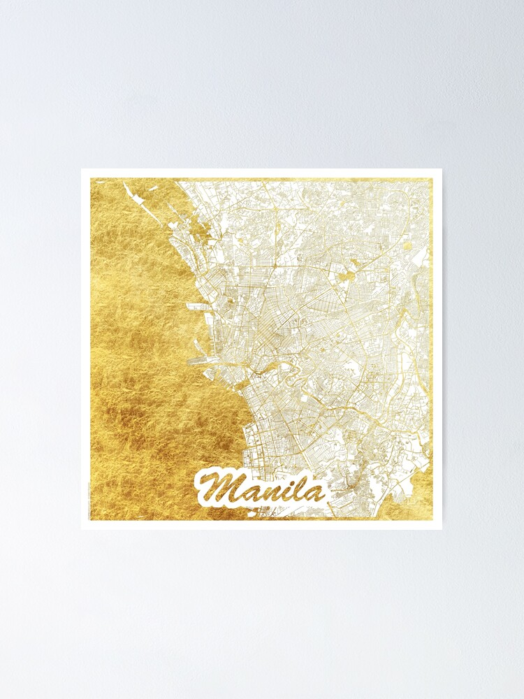 Alternate view of Manila Map Gold Poster
