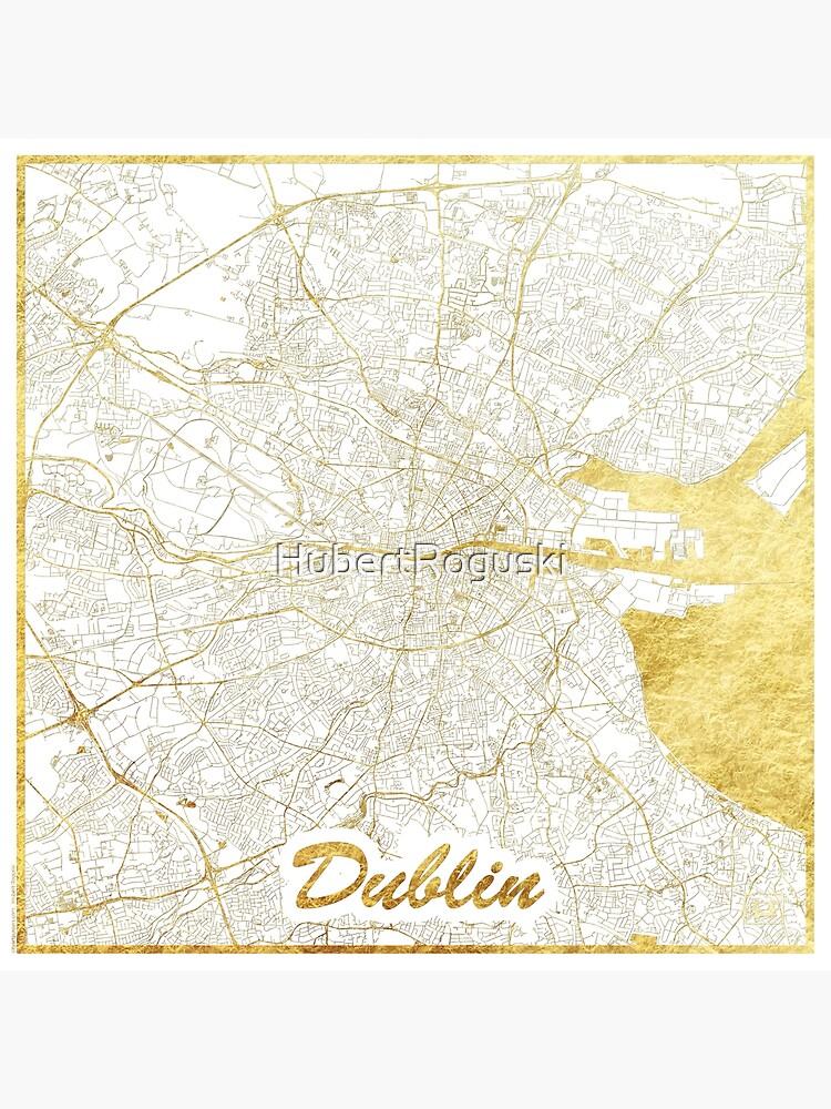 Dublin Map Gold by HubertRoguski