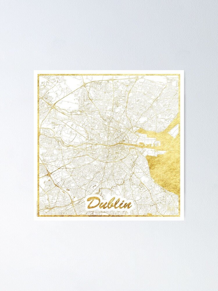 Alternate view of Dublin Map Gold Poster