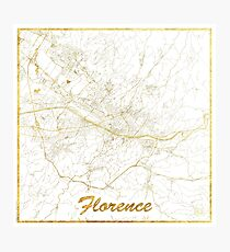 Florence Map Gold Photographic Print