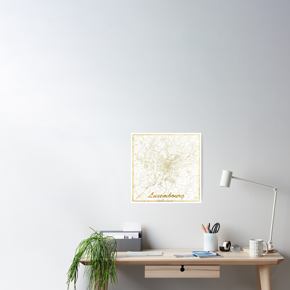 Luxembourg Map Gold Poster