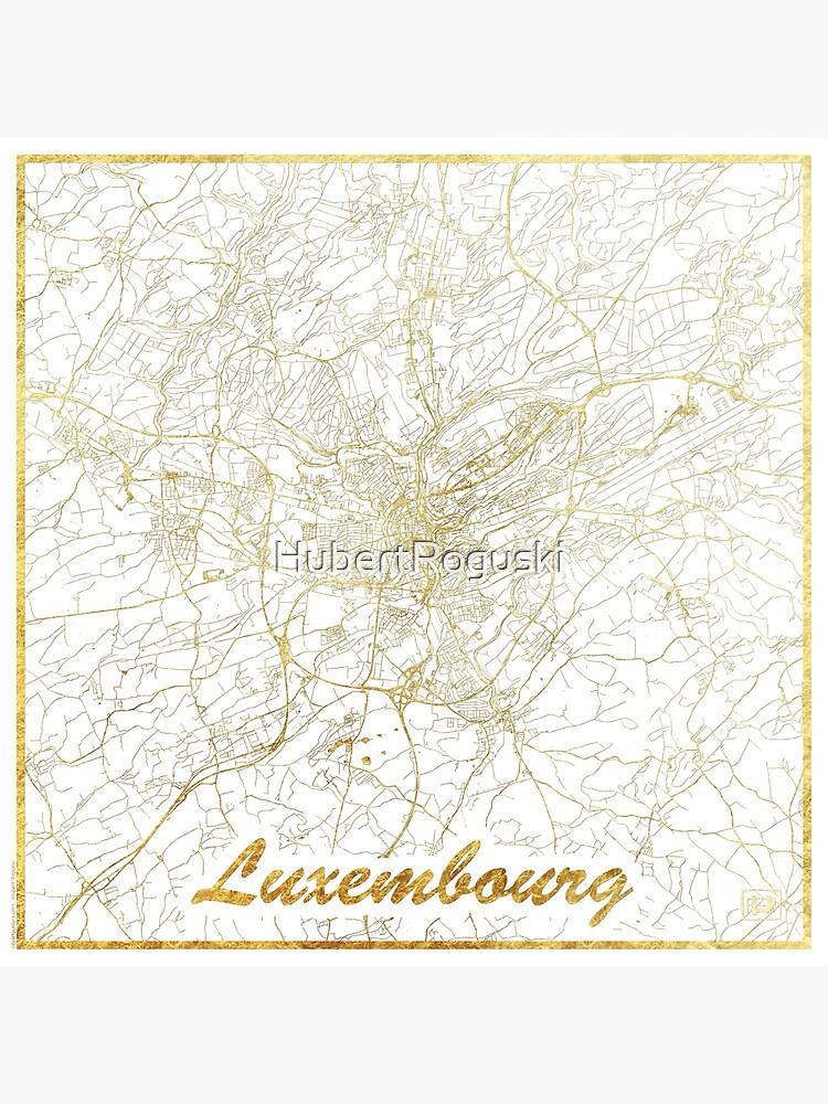 Luxembourg Map Gold by HubertRoguski