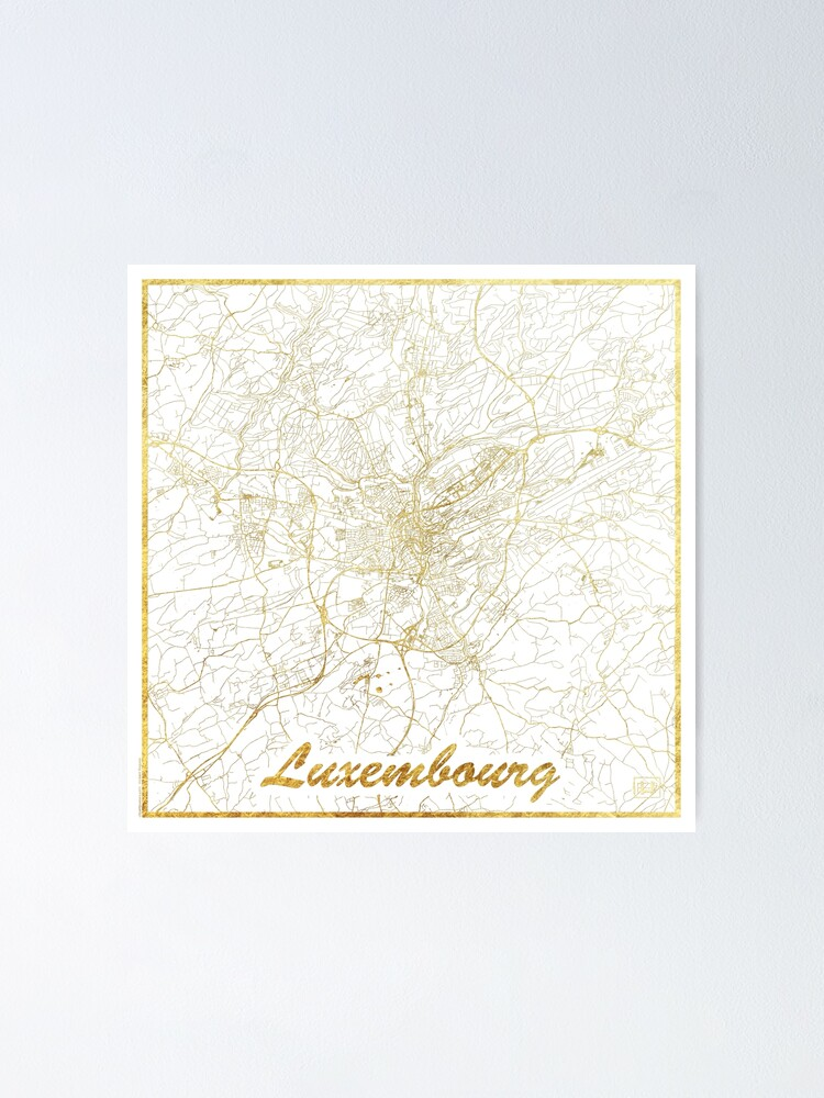 Alternate view of Luxembourg Map Gold Poster