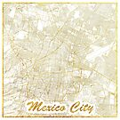 Mexico City Map Gold by HubertRoguski