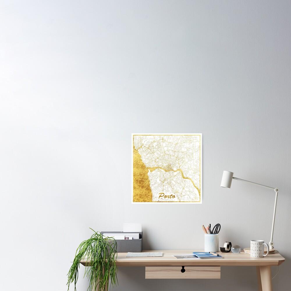 Porto Map Gold Poster