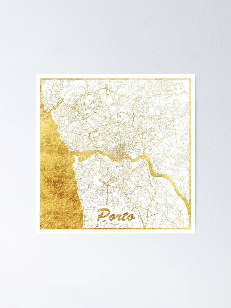 Alternate view of Porto Map Gold Poster