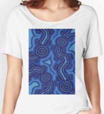Authentic Aboriginal Art - Blue Campsites Women's Relaxed Fit T-Shirt