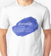 Pluviophile Word Nerd - Rainy Day - Blue Watercolor Unisex T-Shirt