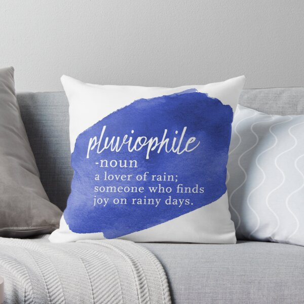Pluviophile Word Nerd - Rainy Day - Blue Watercolor Throw Pillow
