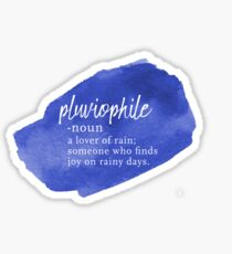 Pluviophile Word Nerd - Rainy Day - Blue Watercolor Sticker