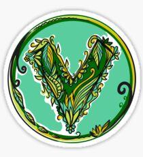 V like vegan, vegetarian, plant, save planet earth, green lifestyle  Sticker
