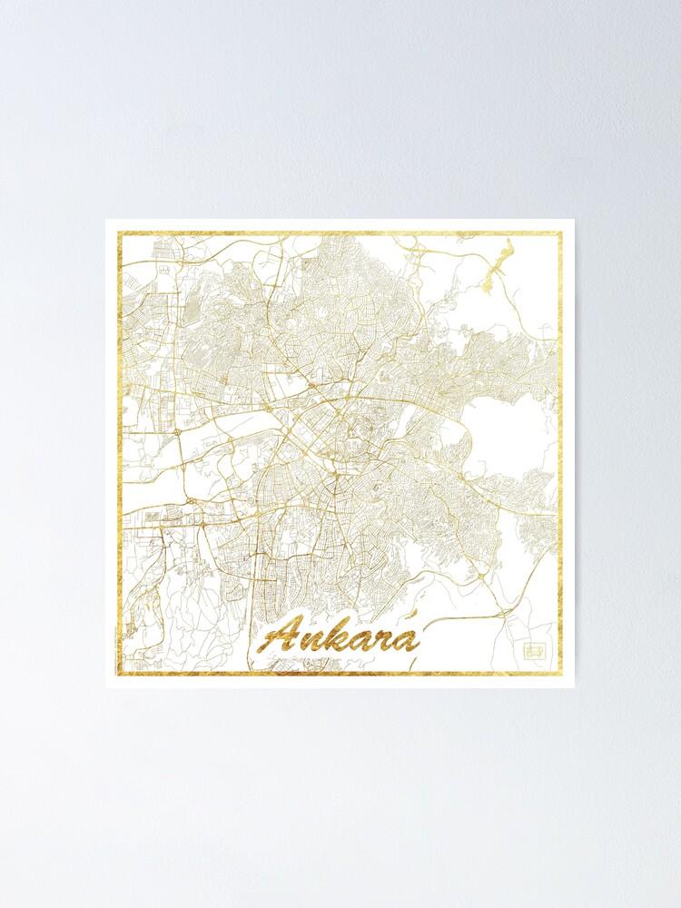Alternate view of Ankara Map Gold Poster