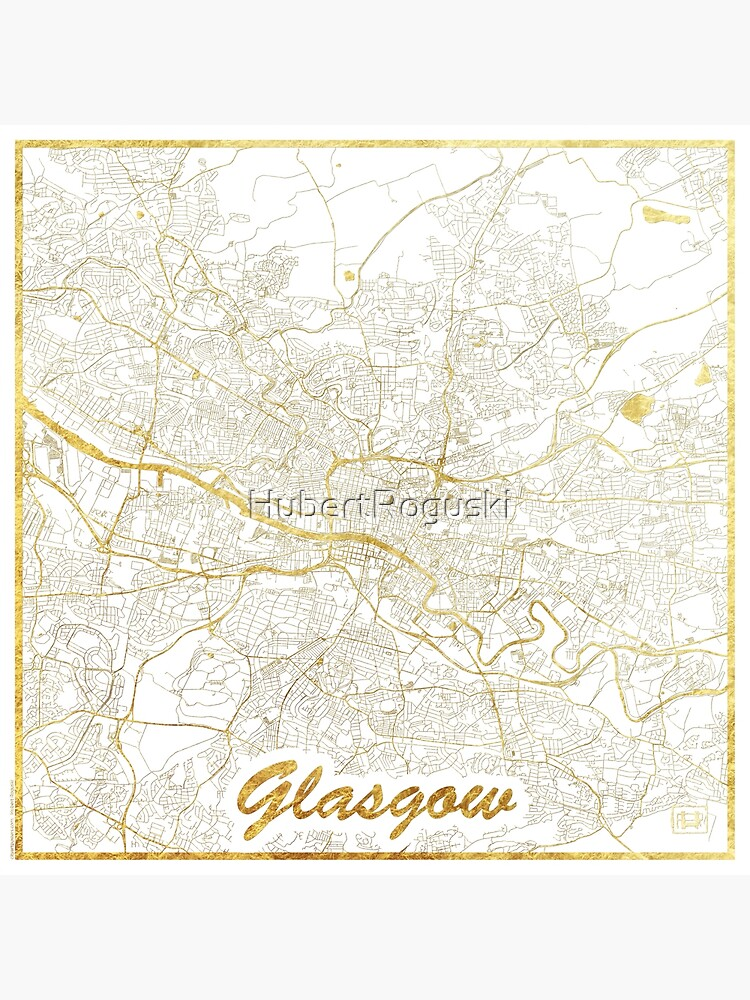 Glasgow Map Gold by HubertRoguski