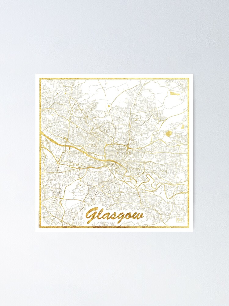 Alternate view of Glasgow Map Gold Poster