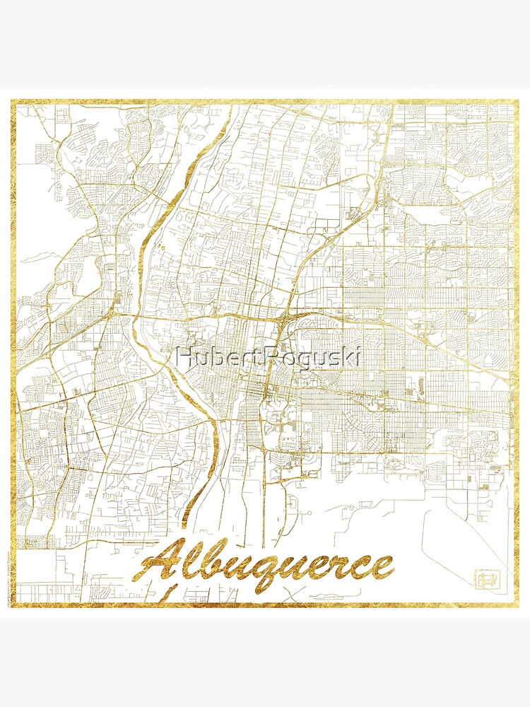 Albuquerque Map Gold by HubertRoguski
