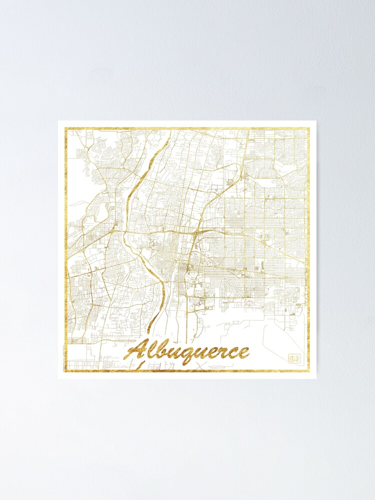 Alternate view of Albuquerque Map Gold Poster