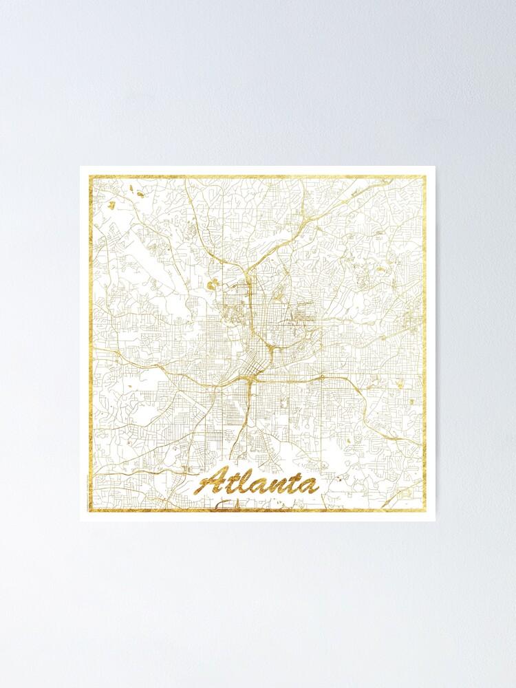 Alternate view of Atlanta Map Gold Poster