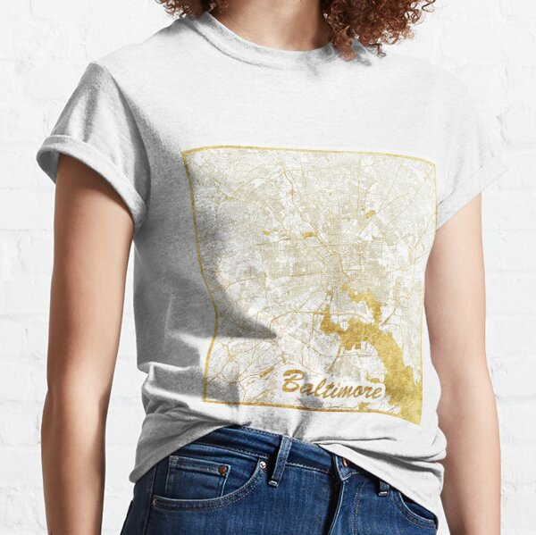 Baltimore Map Gold Classic T-Shirt