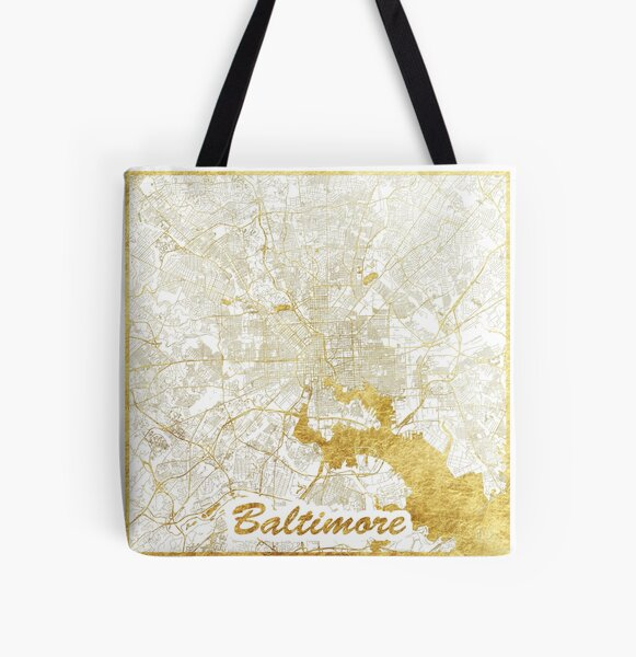Baltimore Map Gold All Over Print Tote Bag