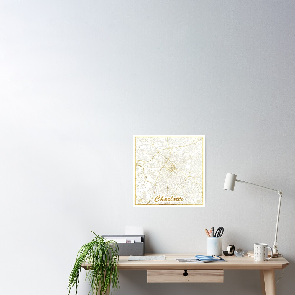 Charlotte Map Gold Poster