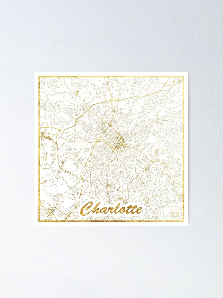 Alternate view of Charlotte Map Gold Poster