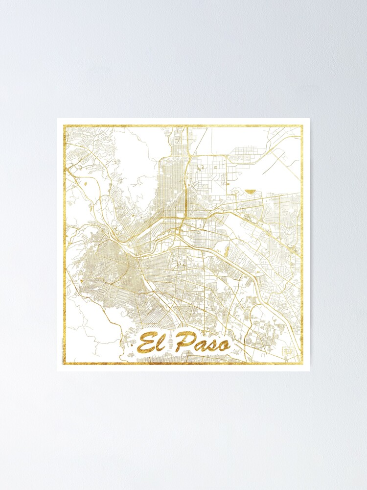 Alternate view of El Paso Map Gold Poster