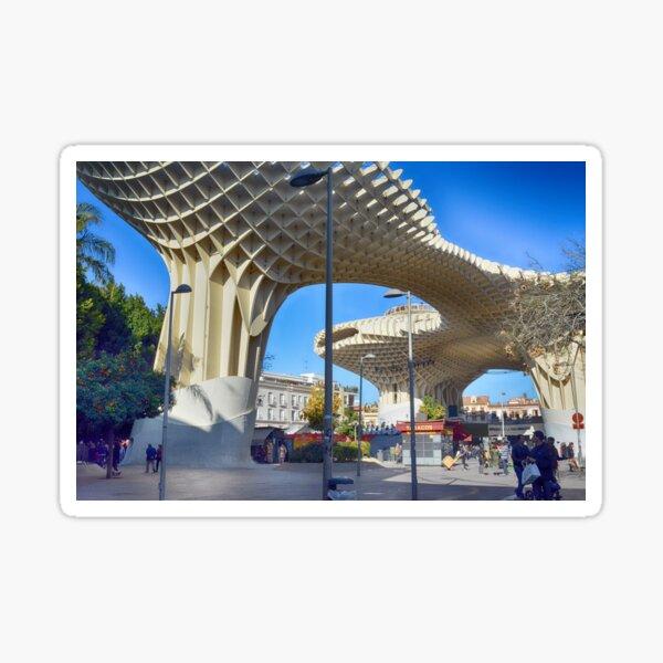 SPAIN, SEVILLA, 31 December 2016 View of Metropol Parasol in Plaza Encarnacion, Andalusia province. Sticker